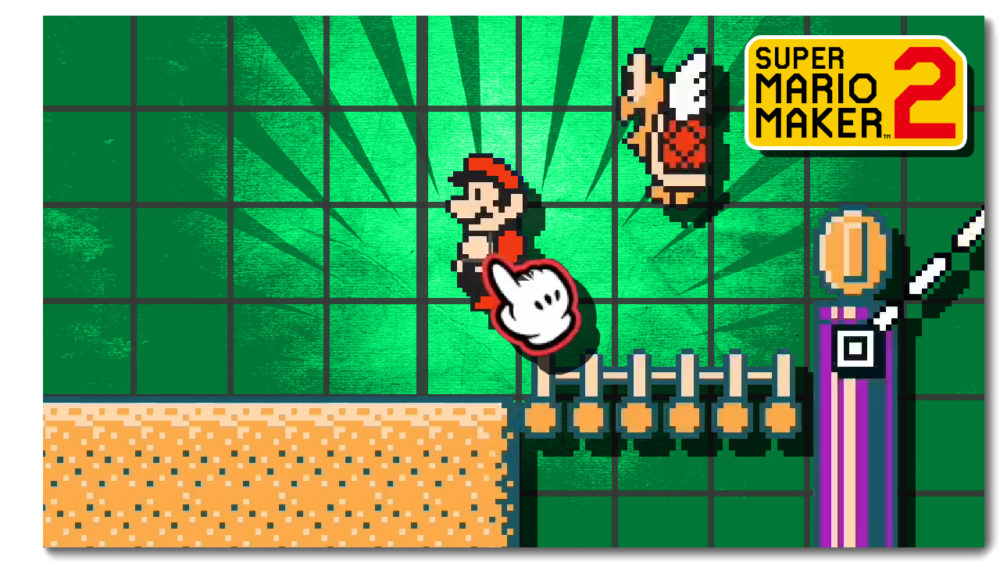 Thumbnail showing Mario and a Koopa Paratroopa in Course Maker with a green background